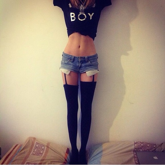boy black t-shirt top socks