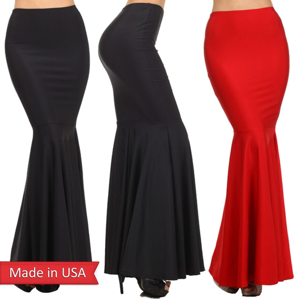 Sexy High Waist Bodycon Frilled Hem Trumpet Mermaid Fitted Long Maxi Skirt USA