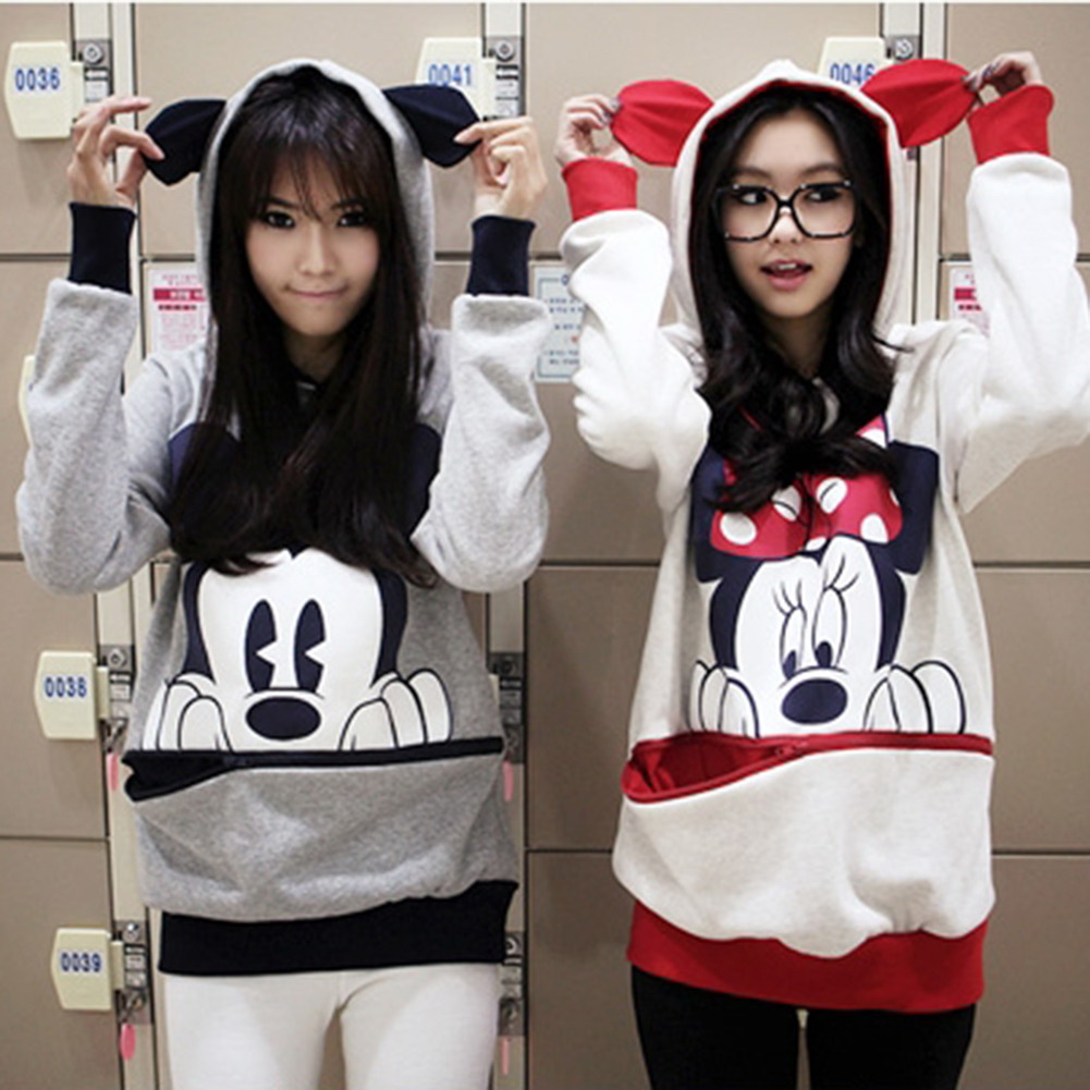 Girls Womens Mickey Minnie Mouse Ear Emo Sweater Shirt Jumper ...