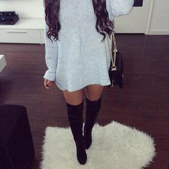jumpsuit jumper grey jumper grey jumpsuit long long jumper long jumpsuit girly boots socks hairstyles dark hair purse chanel purse chanel bag black purse legs tumblr outfit tumblr jumpsuit
