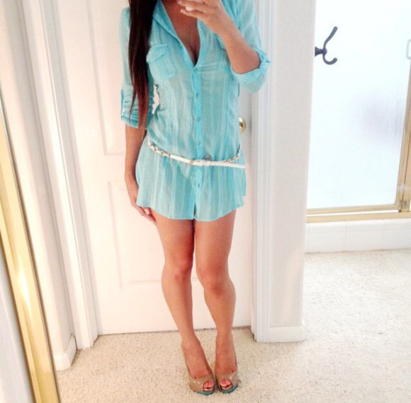 sheer dress top style blogger bloggers do it better shorts blue dress blue shirt heels outfit short dress mini dress