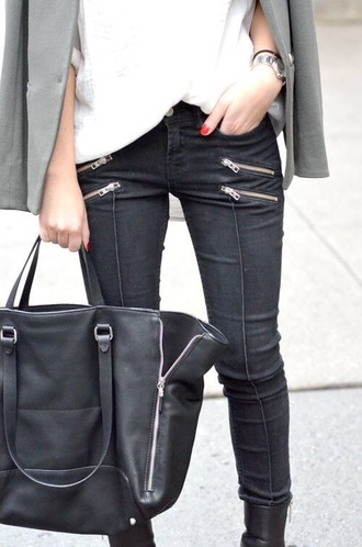 jeans bag black black jeans rock zip