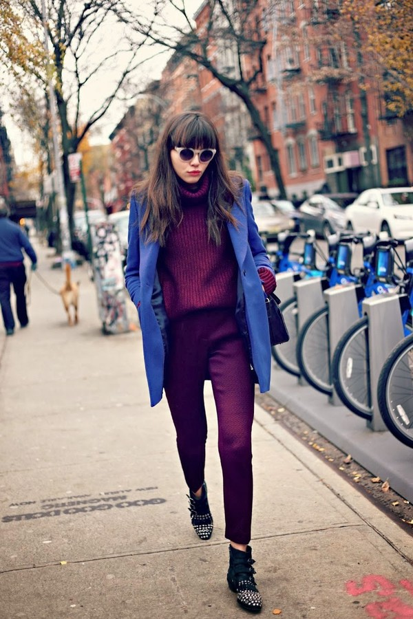 natalie off duty sweater pants coat shoes sunglasses bag straight pants