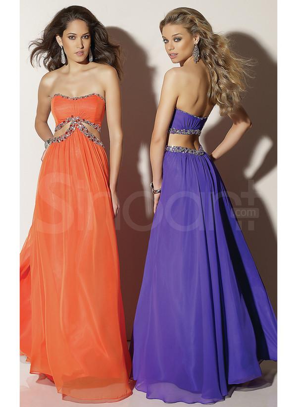 dress floor length prom dress with rhinestones orange empire waist and scoop neckline