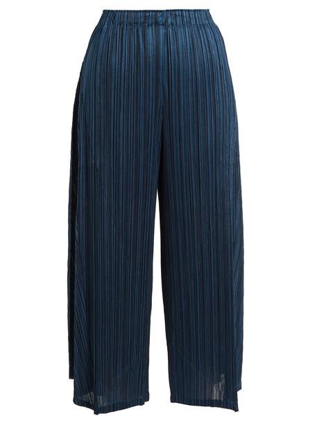 PLEATS PLEASE ISSEY MIYAKE pleated cropped dark blue dark blue pants