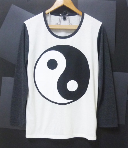 shirt round circle yin yang shirt black and white tshirt long sleeve shirts off white tshirt