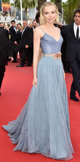 dress gown cannes sienna miller red carpet fairy tale gucci