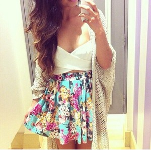 crop tops top white sweater skirt aztec tank top aztec print skirt coat white tank tank top white hat cardigan