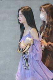dress,pristin,purple,purple dress,kpop,kyulkyung,pink,flowy,flowy dress,v neck dress,no shoulder