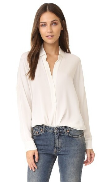 blouse long v neck white top