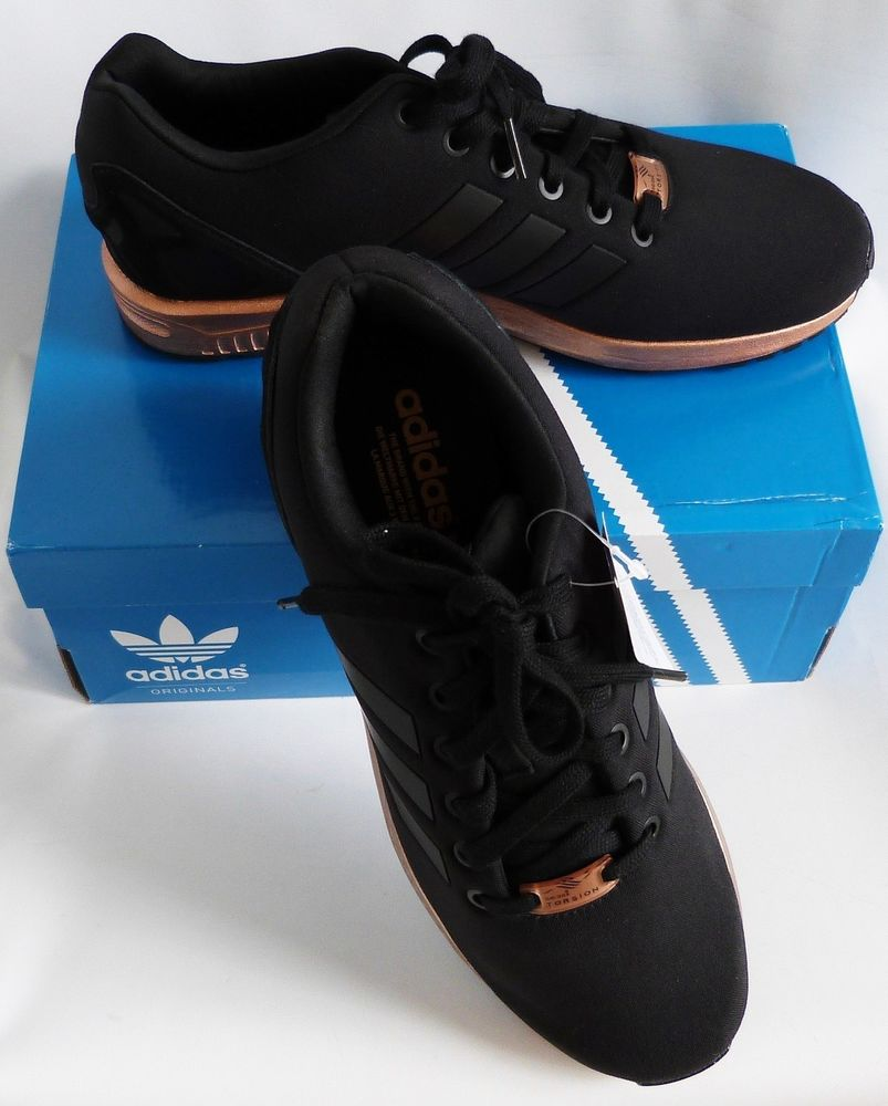 3fe00e6749a7a NIB Adidas ZX Flux Torsion black sneakers w  rose-gold sole women s size 10  US