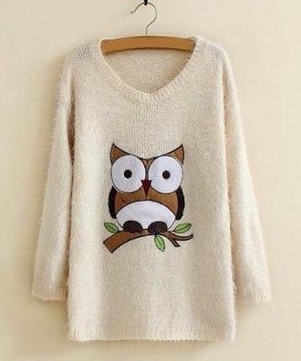 sweater stylish fall look fall outfits owl oversized sweater