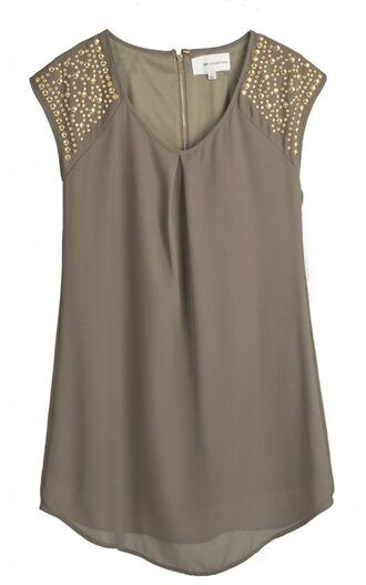 blouse embroidered embellished taupe cute gold gold detail zippered back flowy