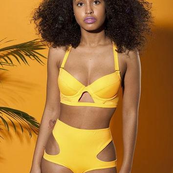 Orange high waist swimsuit on Wanelo