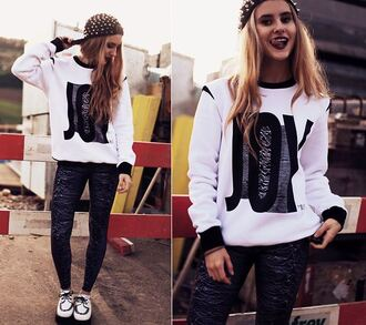 sweater joy division print unknown pleasures black and white joy streetwear streetstyle fall outfits mintfields urban clothing white sweatshirt fall outfits street pulsar sweater pulsar sweatshirt studded snapback lookbook black print pulsar1919 leggings snapback fall outfits