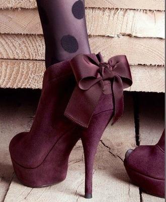 shoes burgundy heels bows classy