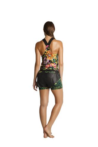 shorts black floral green print sportswear