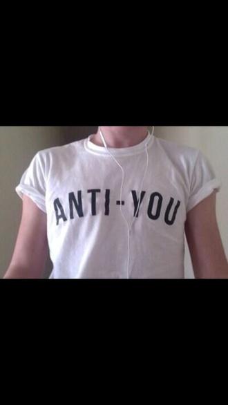shirt t-shirt tee top tanktop starbucks coffee logo anti anti-you white t-shirt