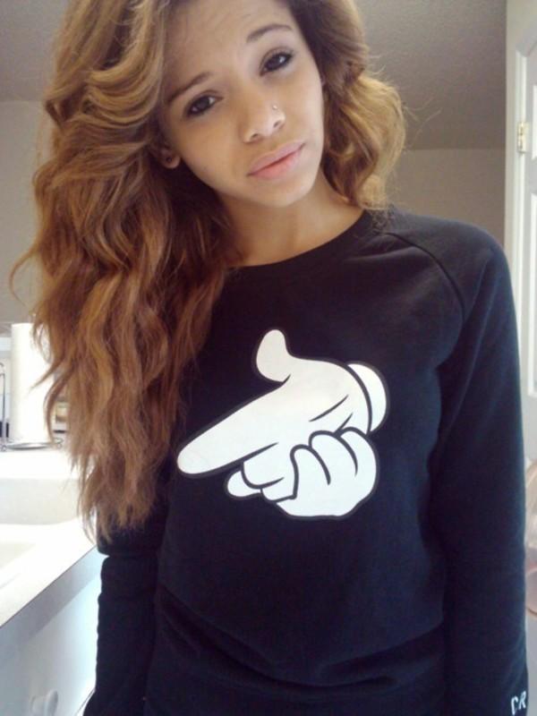 Sweater crewneck shirt graphic tee wheretoget - Mixed girl swag ...