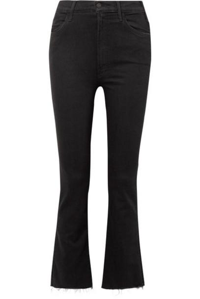 Mother - The Hustler Cropped Frayed High-rise Flared Jeans - Black