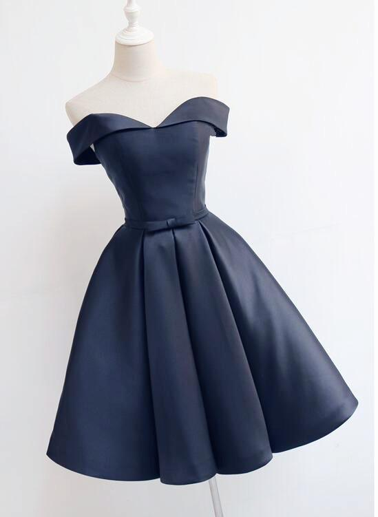 0bb3d880b3d9 Beautiful Navy Blue Short Off Shoulder Sweetheart Party Dress, Navy Blue  Party Dress, Homecoming Dresses