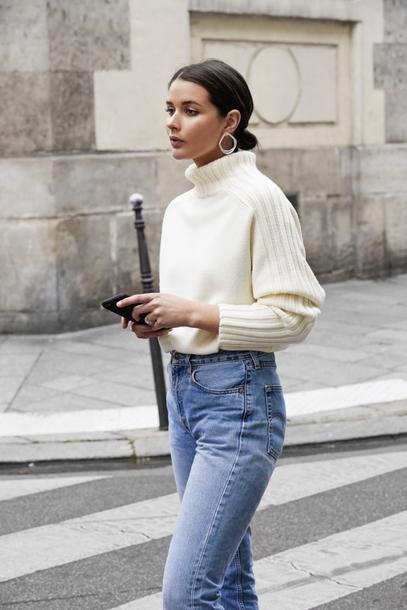 sweater tumblr white sweater knit knitwear knitted sweater turtleneck turtleneck sweater denim jeans blue jeans earrings hoop earrings