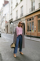 coat,grey coat,tumblr,sweater,pink sweater,denim,jeans,blue jeans,cropped jeans,bag,shoes,sunglasses