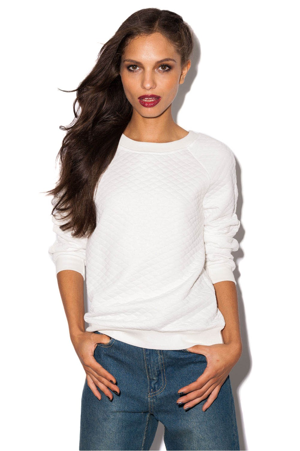Cricket quilted sweater in white