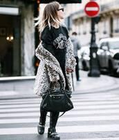 coat,tumblr,printed coat,fur coat,animal print,top,graphic tee,guns and roses,pants,black pants,boots,biker boots,flat boots,black boots,bag,black bag,printed fur coat
