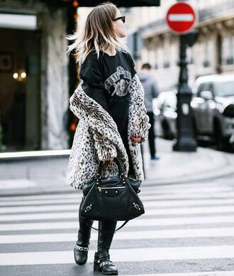 coat tumblr printed coat fur coat animal print top graphic tee guns and roses pants black pants boots biker boots flat boots black boots bag black bag printed fur coat