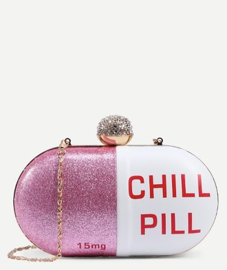 bag girl girly girly wishlist chill pill pink white red cute clutch shoulder bag