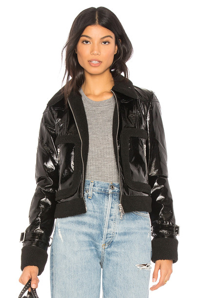 Rebecca Minkoff jacket fur faux fur black