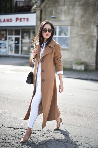 coat white and beige outfit white and beige tumblr tumblr outfit beige coat top white top pants white pants pumps pointed toe pumps high heel pumps sunglasses winter look