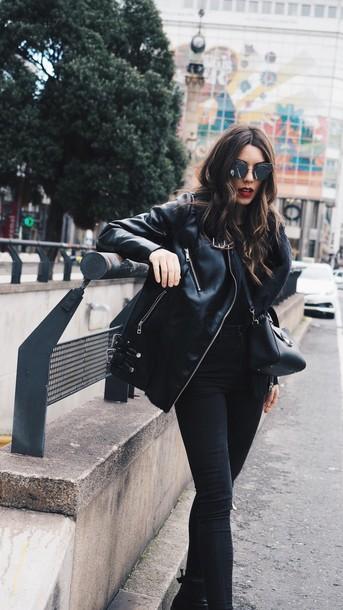 ea1c37a6e0 jacket tumblr black jacket black leather jacket leather jacket denim jeans  black jeans all black everything