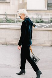 jacket,tumblr,blazer,velvet,pants,blue pants,boots,black boots,mid heel boots,pointed boots,bag,clear clutch,transparent  bag,streetstyle,cropped velvet pants,flare velvet pants
