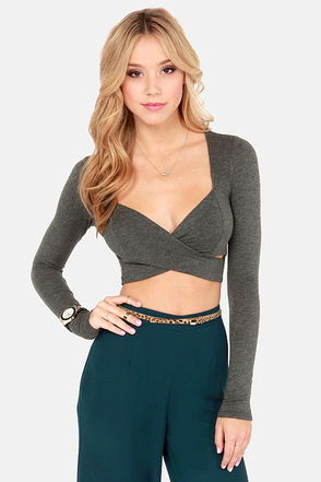Cute Grey Top - Crop Top - Long Sleeve Top - $22.00