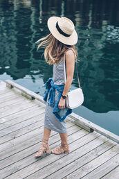 dress,hat,tumblr,midi dress,stripes,striped dress,sandals,mid heel sandals,sun hat,jacket,denim jacket,denim,bag,white bag