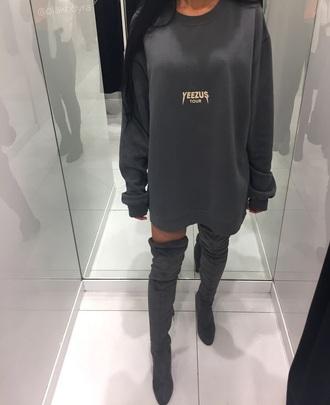 shirt yeezus grey sweater