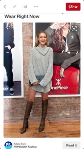 sweater,oversized sweater,gigi hadid,grey,comfy,long,sweater dress,turtleneck dress