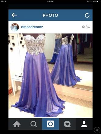 dress purple dress posh elegant prom dress rhinestones