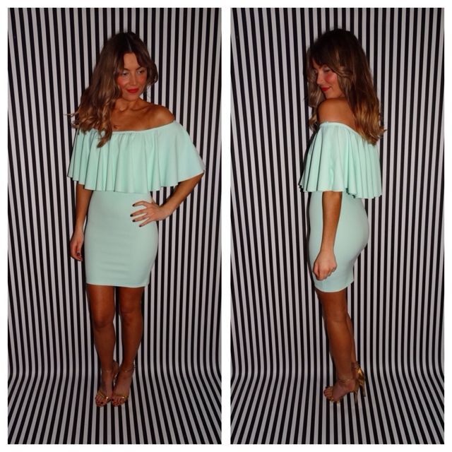 OFF THE SHOULDER RUFFLED SHORT MINT ... | Chic Empire | Depop