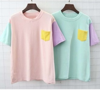 t-shirt girl girly girly wishlist colorblock pink blue cute cute top