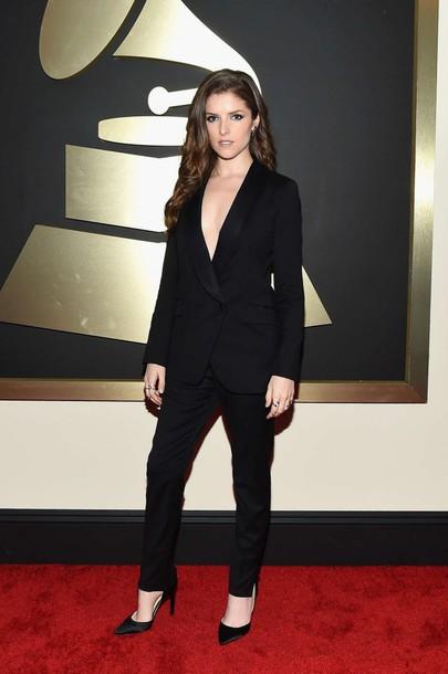 pants jacket grammys 2015 anna kendrick black suit blazer