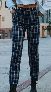 pants,emma chamberlain,plaid pants,jeans