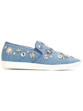 metal women embellished sneakers blue shoes