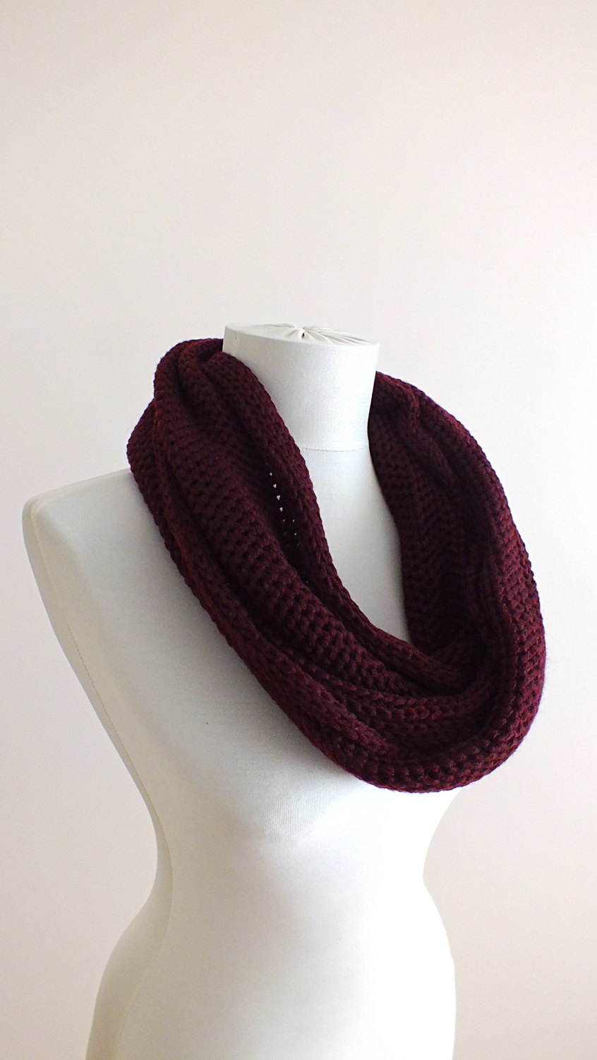 Chunky knit scarf maroon knit scarf infinity winter scarf unique wedding gift for her winter fashion accessories trending items