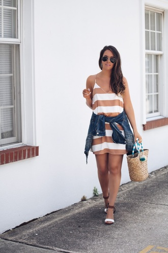 fashionably kay blogger dress shoes jacket bag striped dress mini dress denim jacket basket bag sandals high heel sandals summer outfits