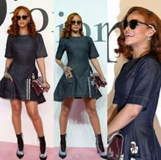 dress denim dress rihanna