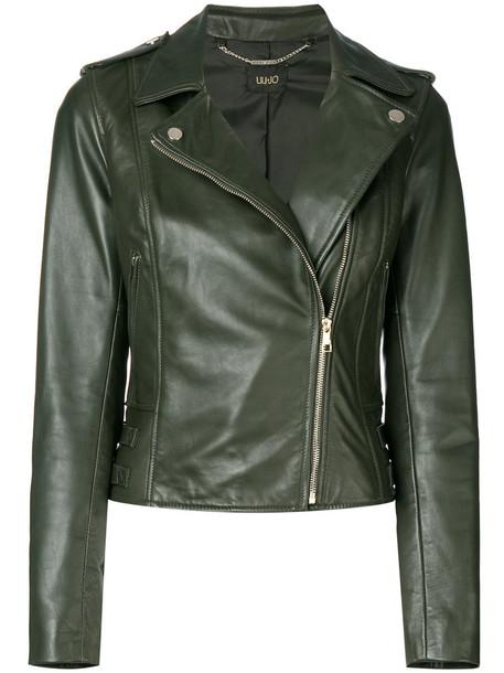 LIU JO jacket biker jacket women leather cotton green