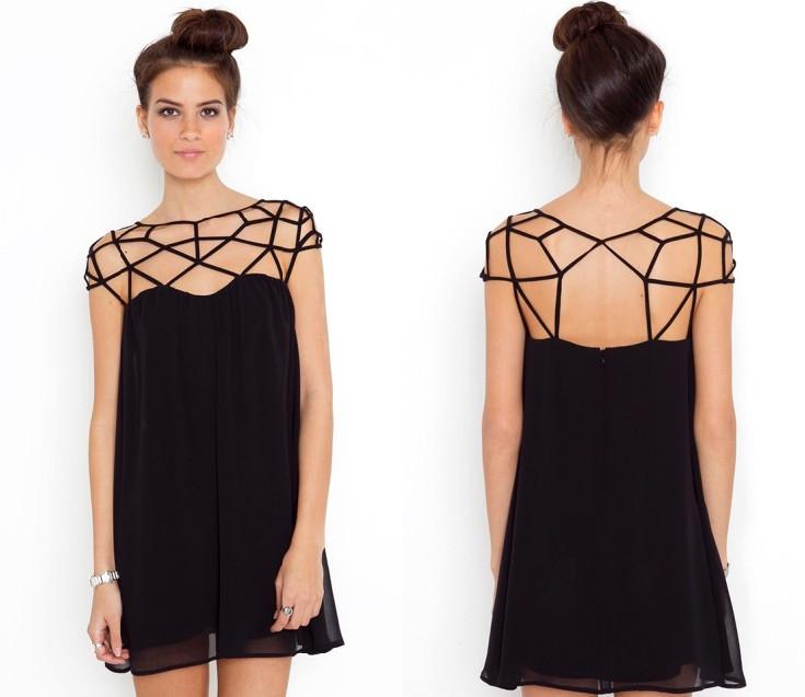 Little black dress skirt of hollow out design, sweet chiffon dress ...